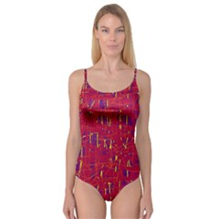 Red and blue pattern Camisole Leotard