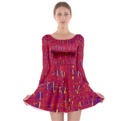 Red and blue pattern Long Sleeve Skater Dress