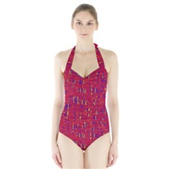 Red and blue pattern Halter Swimsuit