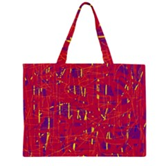 Red and blue pattern Large Tote Bag