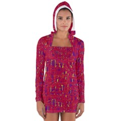 Red And Blue Pattern Women s Long Sleeve Hooded T Shirt