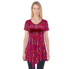 Red and blue pattern Short Sleeve Tunic