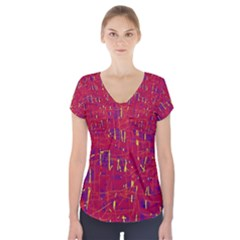 Red And Blue Pattern Short Sleeve Front Detail Top