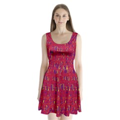 Red And Blue Pattern Split Back Mini Dress