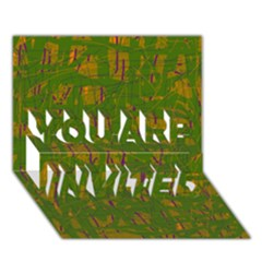 Green pattern YOU ARE INVITED 3D Greeting Card (7x5)