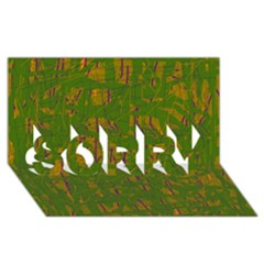 Green Pattern Sorry 3d Greeting Card (8x4)
