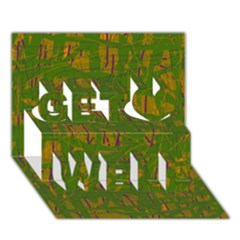Green pattern Get Well 3D Greeting Card (7x5)