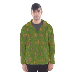 Green pattern Hooded Wind Breaker (Men)