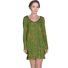 Green pattern Long Sleeve Nightdress