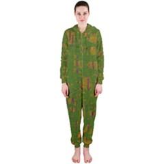 Green pattern Hooded Jumpsuit (Ladies)