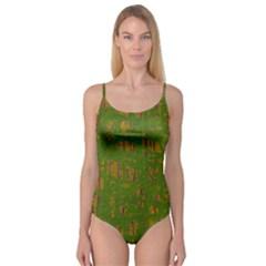Green pattern Camisole Leotard