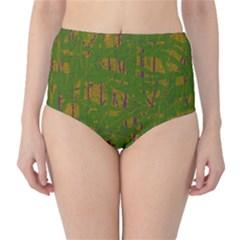 Green pattern High-Waist Bikini Bottoms