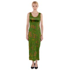 Green pattern Fitted Maxi Dress