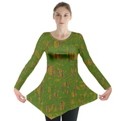 Green pattern Long Sleeve Tunic