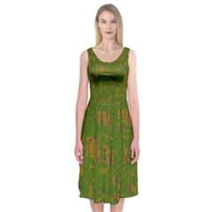 Green pattern Midi Sleeveless Dress