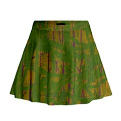 Green pattern Mini Flare Skirt