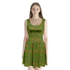 Green Pattern Split Back Mini Dress