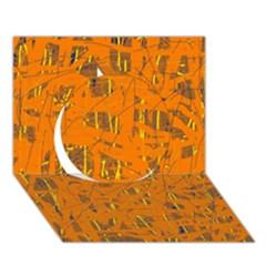 Orange pattern Circle 3D Greeting Card (7x5)