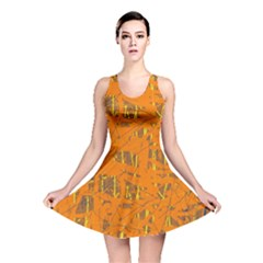 Orange pattern Reversible Skater Dress