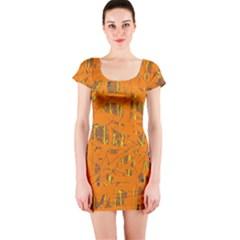Orange pattern Short Sleeve Bodycon Dress