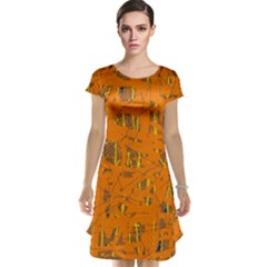Orange pattern Cap Sleeve Nightdress