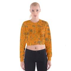 Orange Pattern Women s Cropped Sweatshirt