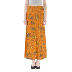 Orange pattern Maxi Skirts