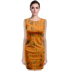 Orange Pattern Classic Sleeveless Midi Dress