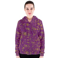 Purple pattern Women s Zipper Hoodie