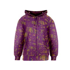 Purple pattern Kids  Zipper Hoodie