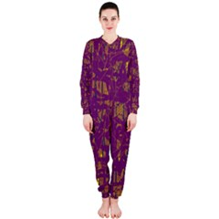 Purple pattern OnePiece Jumpsuit (Ladies)