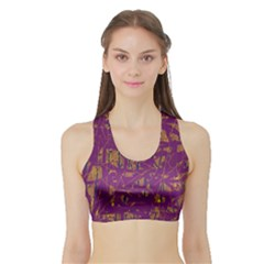 Purple pattern Sports Bra with Border