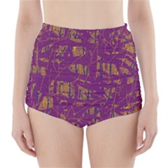 Purple pattern High-Waisted Bikini Bottoms