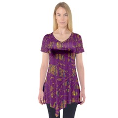 Purple pattern Short Sleeve Tunic