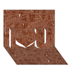 Brown Pattern I Love You 3d Greeting Card (7x5)