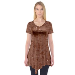 Brown Pattern Short Sleeve Tunic
