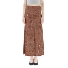 Brown pattern Maxi Skirts