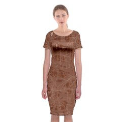 Brown pattern Classic Short Sleeve Midi Dress