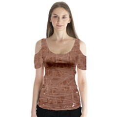 Brown Pattern Butterfly Sleeve Cutout Tee