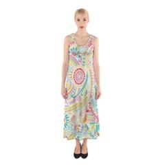 Hippie Flowers Pattern, Pink Blue Green, Zz0101 Sleeveless Maxi Dress