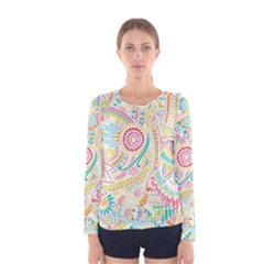 Hippie Flowers Pattern, Pink Blue Green, Zz0101 Women s Long Sleeve Tee