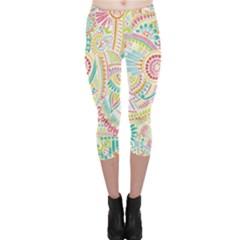 Hippie Flowers Pattern, Pink Blue Green, Zz0101 Capri Leggings