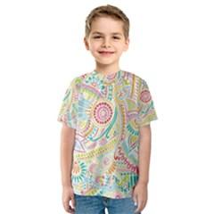 Hippie Flowers Pattern, Pink Blue Green, Zz0101 Kid s Sport Mesh Tee
