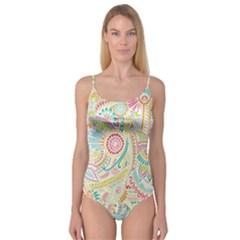 Hippie Flowers Pattern, Pink Blue Green, Zz0101 Camisole Leotard