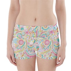 Hippie Flowers Pattern, Pink Blue Green, Zz0101 Boyleg Bikini Wrap Bottoms