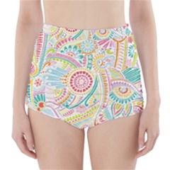 Hippie Flowers Pattern, Pink Blue Green, Zz0101 High-Waisted Bikini Bottoms