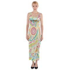 Hippie Flowers Pattern, Pink Blue Green, Zz0101 Fitted Maxi Dress