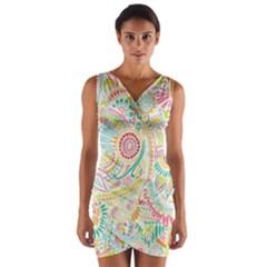Hippie Flowers Pattern, Pink Blue Green, Zz0101 Wrap Front Bodycon Dress