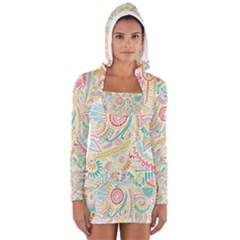 Hippie Flowers Pattern, Pink Blue Green, Zz0101 Women s Long Sleeve Hooded T Shirt