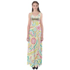 Hippie Flowers Pattern, Pink Blue Green, Zz0101 Empire Waist Maxi Dress